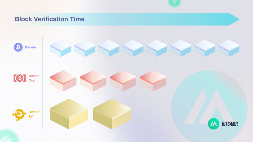 Block Verification Time Difference Bitcoin, Bitcoin Cash and SV