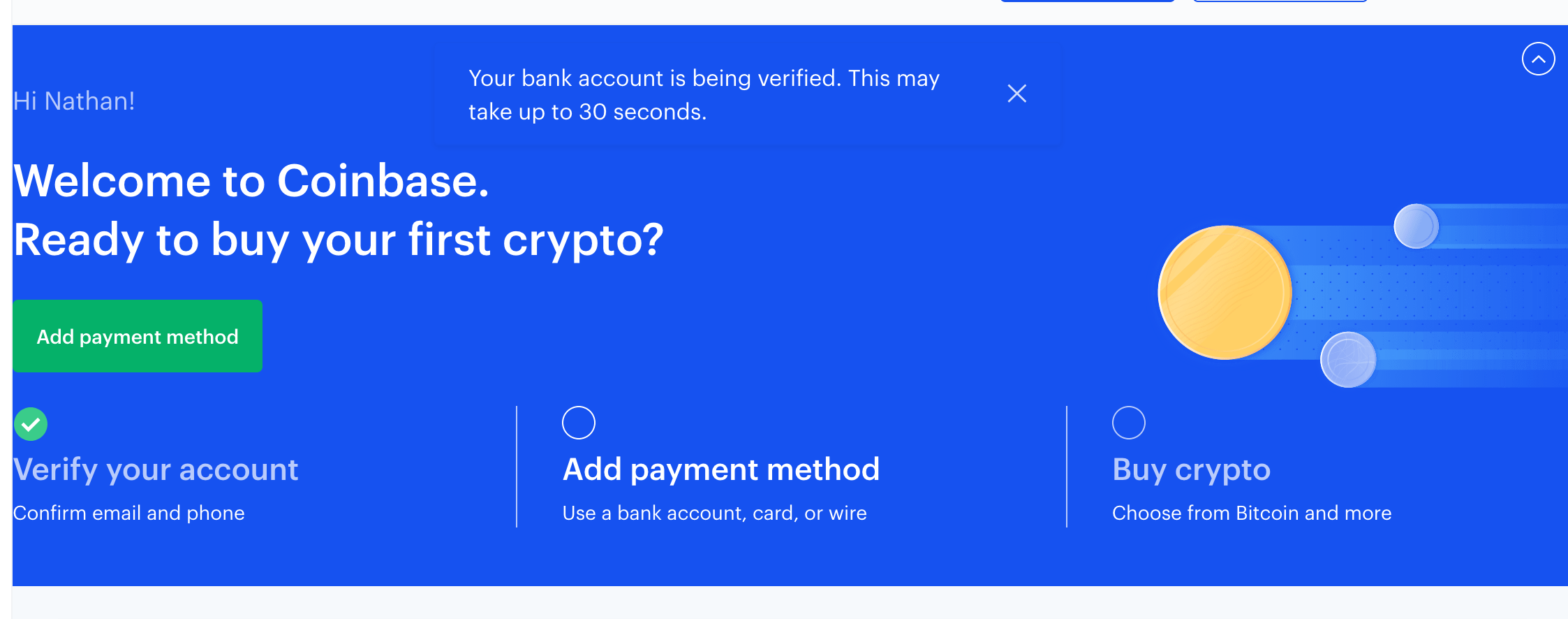 Reiff Coinbase verification waiting screenshot